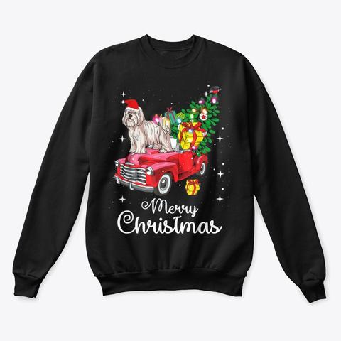 Maltese Christmas Sweater Shirt Black T-Shirt Front