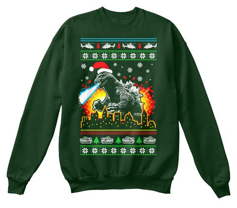 godzilla ugly christmas sweater style deep forest sweatshirt front