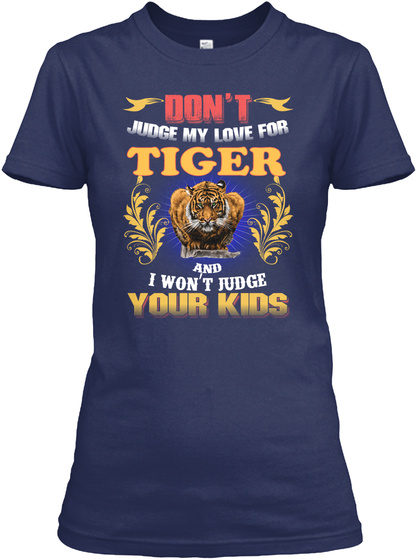I'm So In Love With Tiger Navy T-Shirt Front