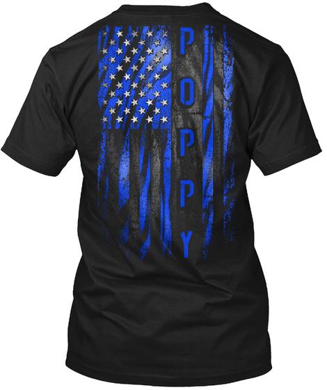 Poppy Blue Tiger American Flag Black T-Shirt Back