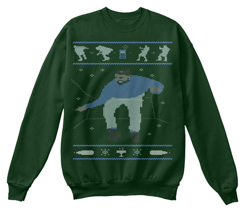 Ugly Christmas Tee (Sweater Style) Deep Forest  T-Shirt Front