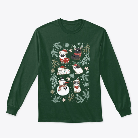 Christmas French Bulldog Sweatshirt Forest Green T-Shirt Front