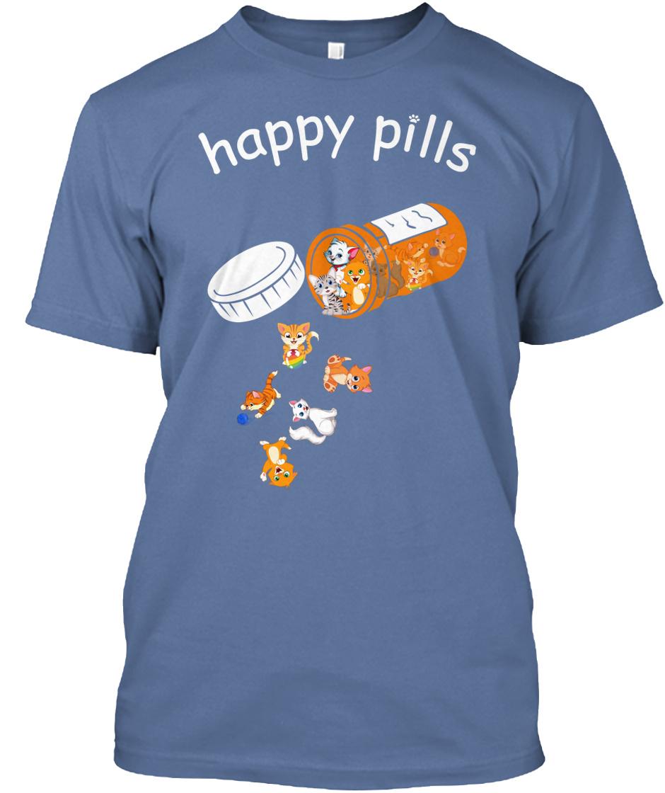 T-shirt femme-chats animaux cadeau sa mèreartiste invité JG Happy Pills Cat