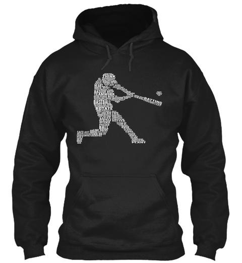 Think Pride Heart Base Go Deep Teamwork Baseball Batting Rotate Offense Passed Ball Line Plant  Black Sweatshirt Front