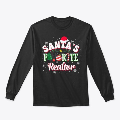 Santa's Candy Deer Xmas Ball T Shirt Black T-Shirt Front