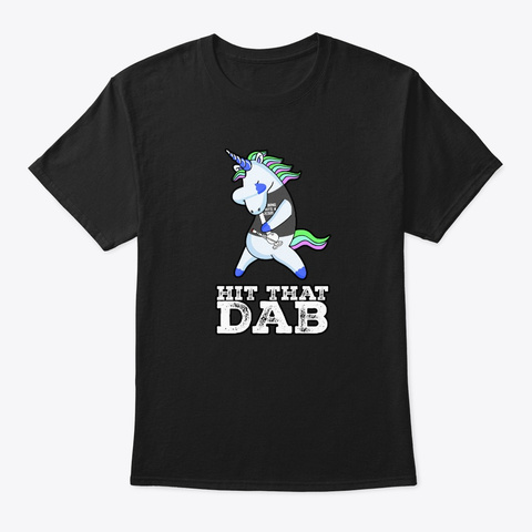 Cool Dabbing Unicorn Bong 4 Jesus  Black T-Shirt Front