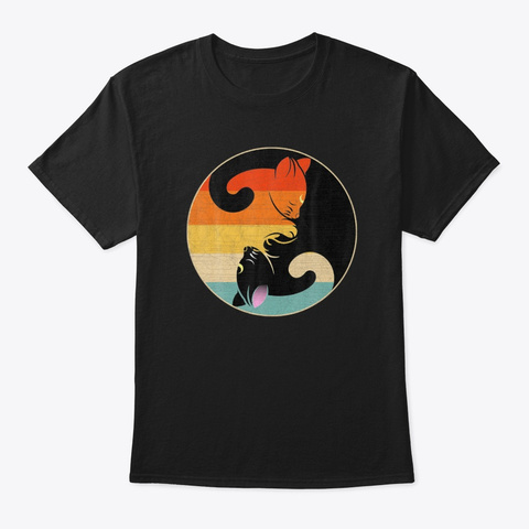 Vintage Yin Yang Cats Yoga  Meditation Black T-Shirt Front