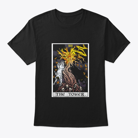 The Tower Tarot Card Halloween Tree Of Black T-Shirt Front