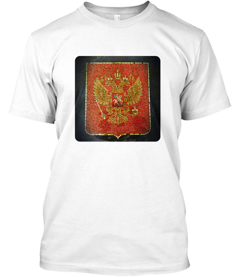 Coat Of Arms Of Russia (Round) White T-Shirt Front