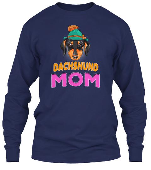 Hipster Dog Dachshund Mom Navy T-Shirt Front