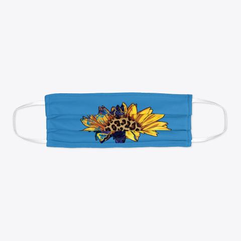 Awesome Sunflower Face Mask Denim Blue T-Shirt Flat