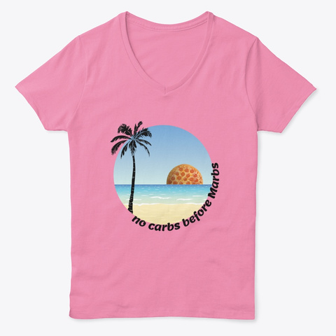 No Carbs Before Marbs Humour Quote Pink  T-Shirt Front