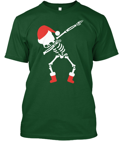 Dabbing Skeleton Santa Christmas Funny Deep Forest T-Shirt Front
