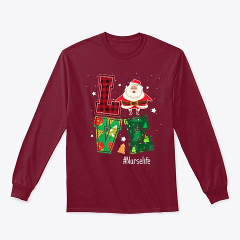 Love Nurselife Nurse Santa Christmas Cardinal Red T-Shirt Front