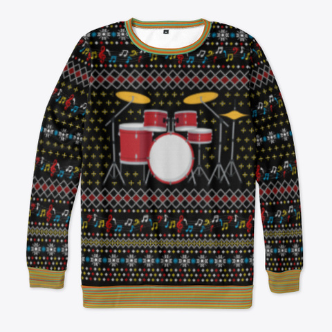 Drum Ugly Christmas Sweater 2020 Gifts Black T-Shirt Front