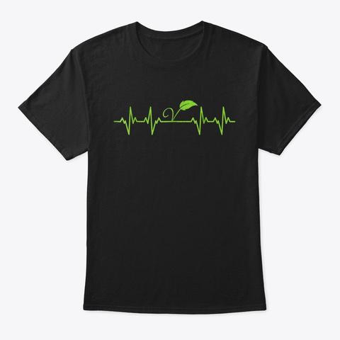 Vegan Heartbeat T Shirt Black T-Shirt Front