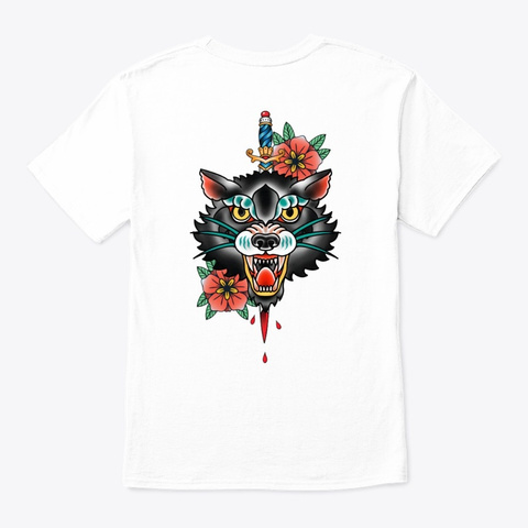 Angry Wolf Face Traditional Tattoo Style White T-Shirt Back