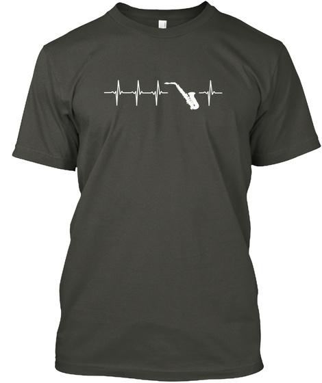 Saxophone Funny Gift Idea Smoke Gray T-Shirt Front