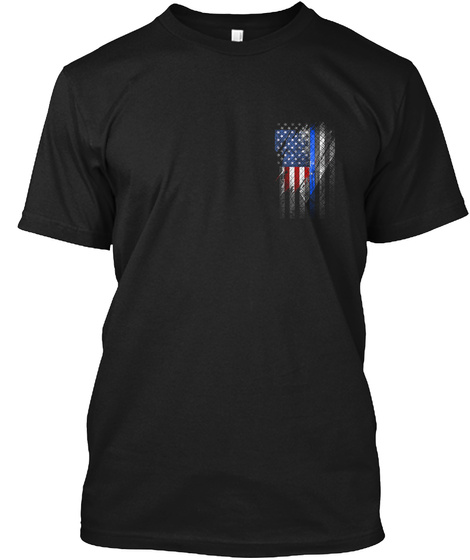 Salute The Flag. Back The Badge Black T-Shirt Front