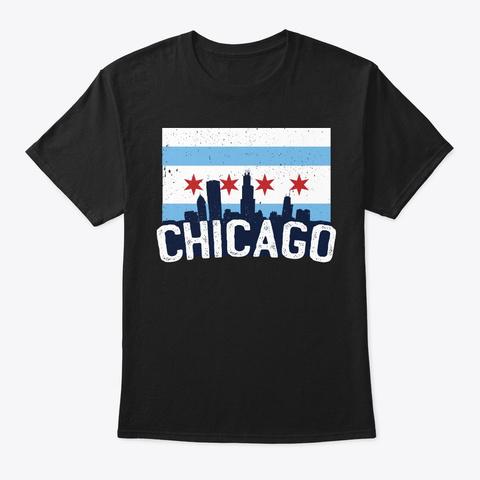 Cool Chicago Flag Skyline Illinois Gift Black T-Shirt Front