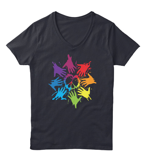 Peace For Lgbt Pride Month Navy Camiseta Front