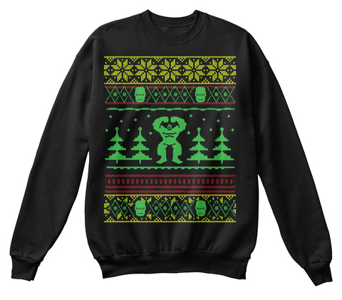 Fitness Ugly Christmas Sweatshirt Jet Black Sweatshirt Front