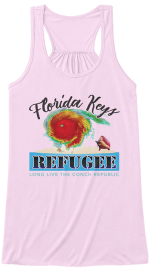 Florida Keys Refugee Long Leave The Conch Republic Soft Pink T-Shirt Front