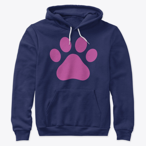 Paw Hoodie Navy T-Shirt Front