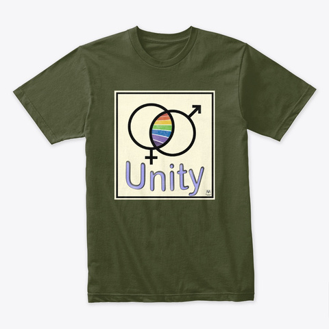 Unity   Rainbow Pride Design Military Green T-Shirt Front