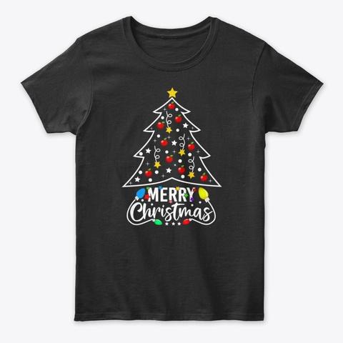Teacher Christmas   Pine Tree Black T-Shirt Front