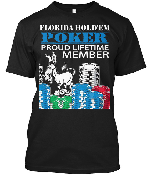 Poker T Shirt Florida Texas Hold'em Black T-Shirt Front