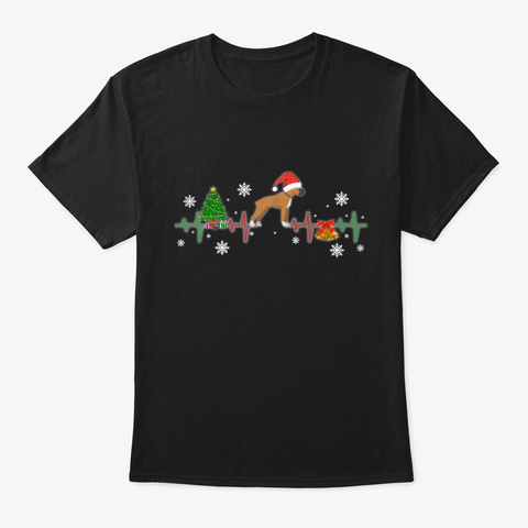 Boxer Christmas Heartbeat Gift Black T-Shirt Front