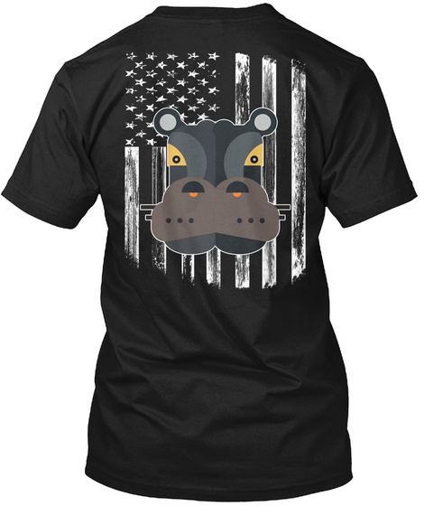 American Flag Hippo 4th Of July Shirts Black T-Shirt Back