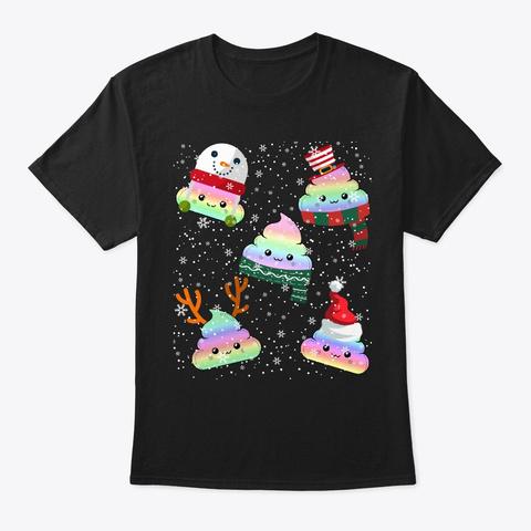 Funny Emoji Christmas Poop Cute Holiday Black T-Shirt Front