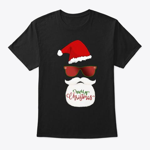 Cool Santa Merry Christmas Holiday Black T-Shirt Front