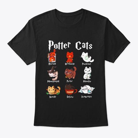 Potter Cats Cute Harry Pawter Kitten T Black T-Shirt Front
