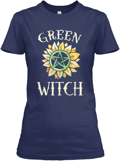 Green Witch Tee Shirt Navy T-Shirt Front