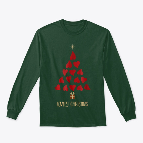 Lovely Christmas Tree With Hearts T Shirt Forest Green T-Shirt Front