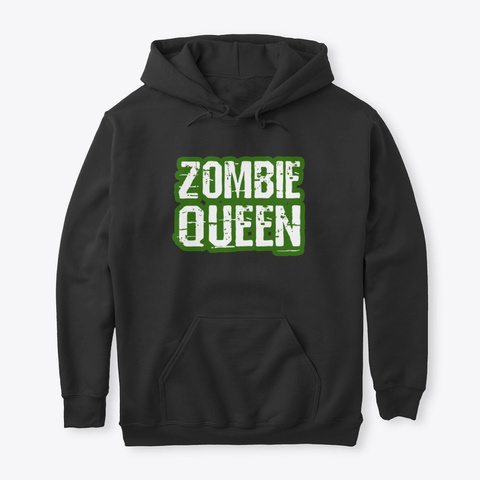 Zombie Queen Trick Or Treat Halloween  Black T-Shirt Front
