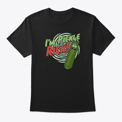 Rm I'm Pickle Rick Black T-Shirt Front