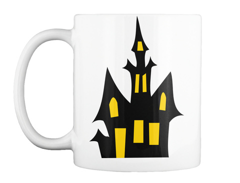 Halloween Castle And Bats  White T-Shirt Front
