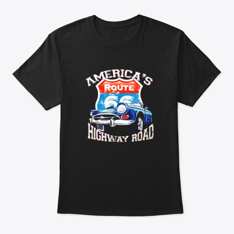 Americas Highway Route 66 Road Vintage Black T-Shirt Front