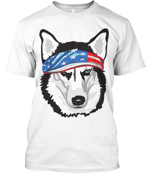 Patriotic Siberian Husky  White T-Shirt Front