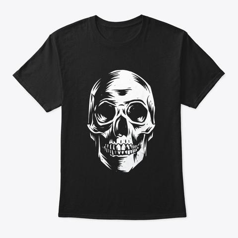 Skull T Shirt Distressed Vintage Design Black T-Shirt Front