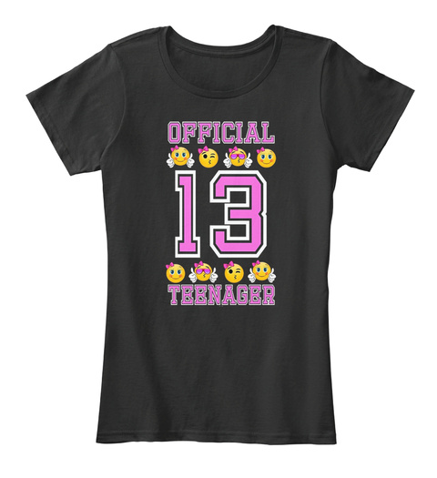 Emoji 13th Birthday T Shirts Black Womens Shirt Front