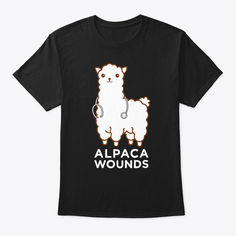 Alpaca Doctor Pack Wound Animal Physicia Black T-Shirt Front