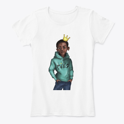 Black Kid Art   Beauty And Pride Apparel White T-Shirt Front