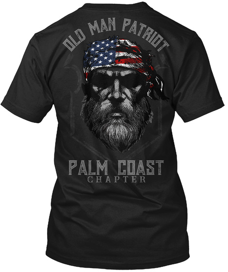 Palm Coast Old Man Black T-Shirt Back