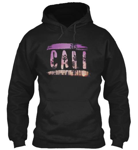 Beautiful California Cali Beach Palm Tre Black T-Shirt Front