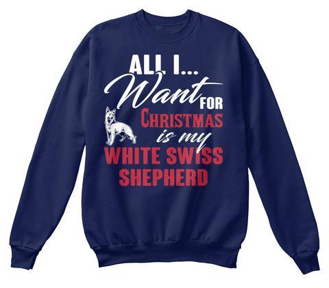 White Swiss Shepherd Ugly Christmas Swea Navy  T-Shirt Front